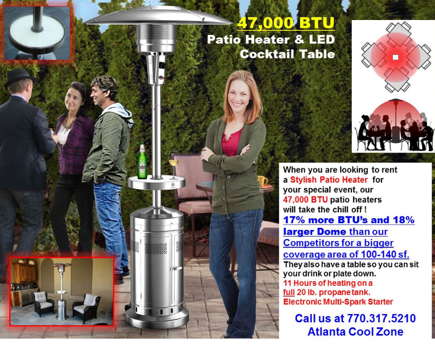 Rent a Patio Heater in Atlanta Georgoa 47000 BTU's